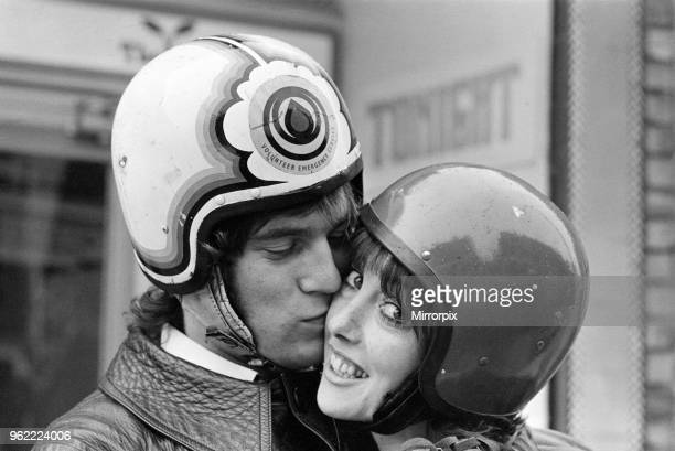 Actress Una Stubbs and her husband Nicky Henson arrive at the Young Vic Theatre for a dress rehearsal on their motorbike They are appearing in the...