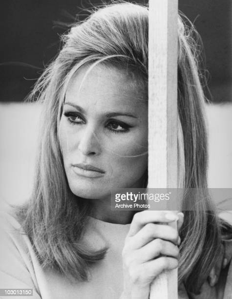 Actress Ursula Andress looking out to the left of the image circa 1965