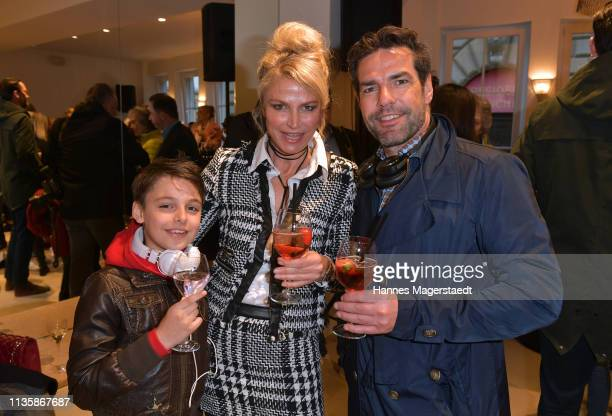 Actress Ursula Gottwald and her son Niklas James Kearney and Dirk Limburg attend the grand opening of the boutique Muenchen Mitte on April 8 2019 in...