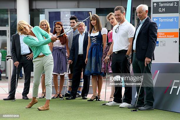 Actress Uschi Glas opens the 'Golf Kids Challenge' prior to the Porsche European Open 2015 at Munich Airport Center Munich International Airport...