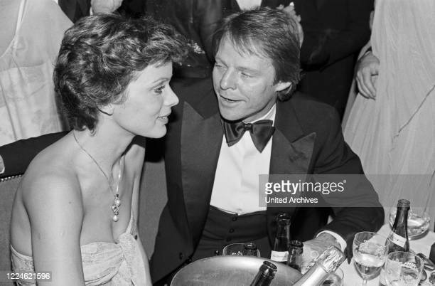 Actress Uschi Glas with Bernd Tewaag at the Deutscher Filmball on January 15th 1980 at Munich, Germany, 1980s.