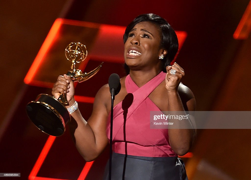 Actress Uzo Aduba accepts Outstanding Supporting Actress in a Drama Series for 'Orange Is the New Black' onstage during the 67th Annual Primetime Emmy Awards at Microsoft Theater on September 20, 2015 in Los Angeles, California.