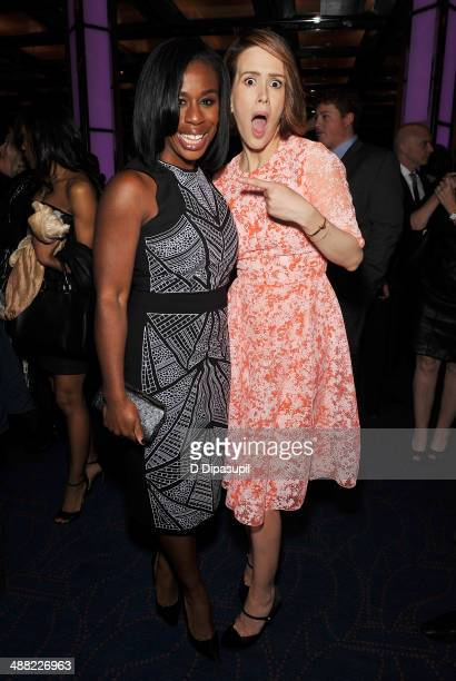 Actress Uzo Aduba and actress Sarah Paulson pose at the after party for the 29th Annual Lucille Lortel Awards at NYU Skirball Center on May 4, 2014...