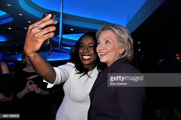 Actress Uzo Aduba and former US Secretary of State Hilllary Clinton attend EMILY's List 30th Anniversary Gala at Washington Hilton on March 3 2015 in...