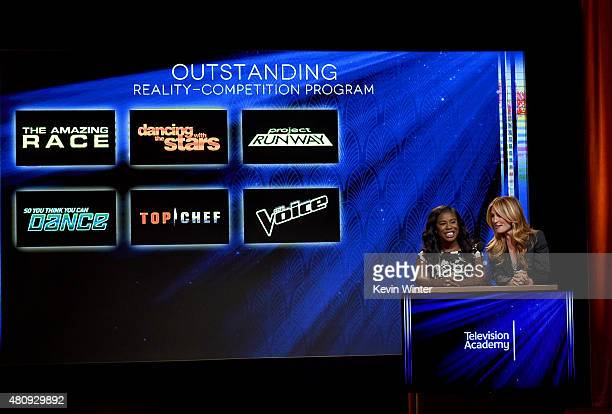 Actress Uzo Aduba and Television Presenter Cat Deeley present the 67th Primetime Emmy Awards nominations at SilverScreen Theater at the Pacific...