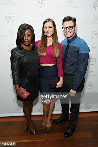 Actress Uzo Aduba fashion designer Ariana Rockefeller and Design Director at Ariana Rockefeller Rob Younkers attend the opening reception to...