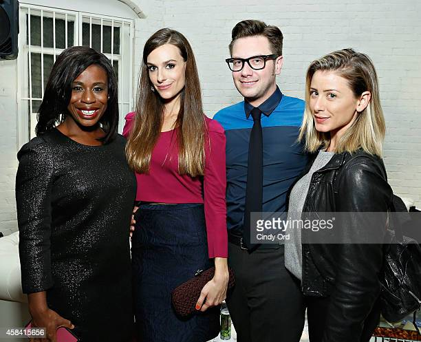 Actress Uzo Aduba fashion designer Ariana Rockefeller Design director at Ariana Rockefeller Rob Younkers and TV personality Lo Bosworth attend the...