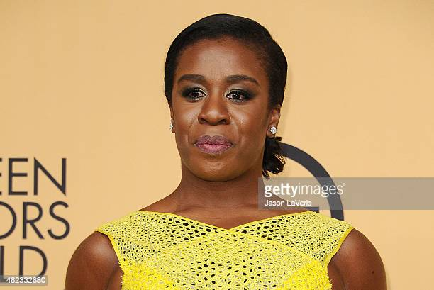 Actress Uzo Aduba poses in the press room at the 21st annual Screen Actors Guild Awards at The Shrine Auditorium on January 25 2015 in Los Angeles...