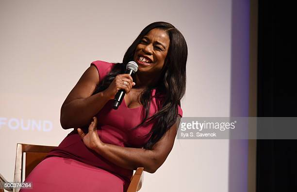 Actress Uzo Aduba speaks during SAGAFTRA Foundation Presents Orange Is The New Black Screening at The New School on December 7 2015 in New York City