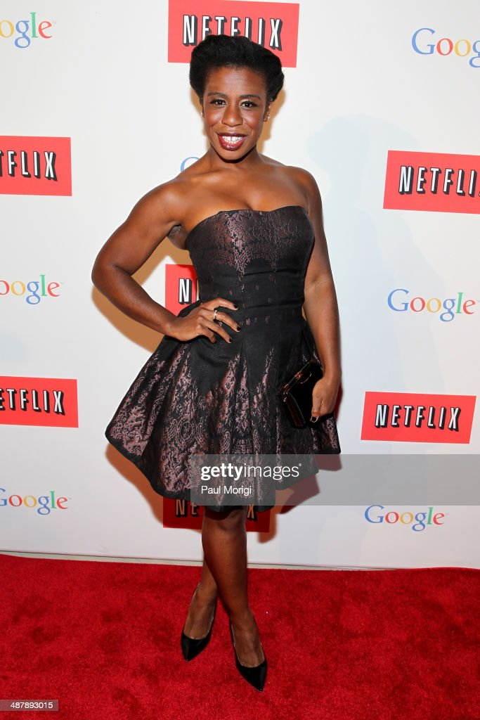 Actress Uzo Aduba walks the red carpet at Google/Netflix White House Correspondent's Weekend Party at United States Institute of Peace on May 2, 2014 in Washington, DC.