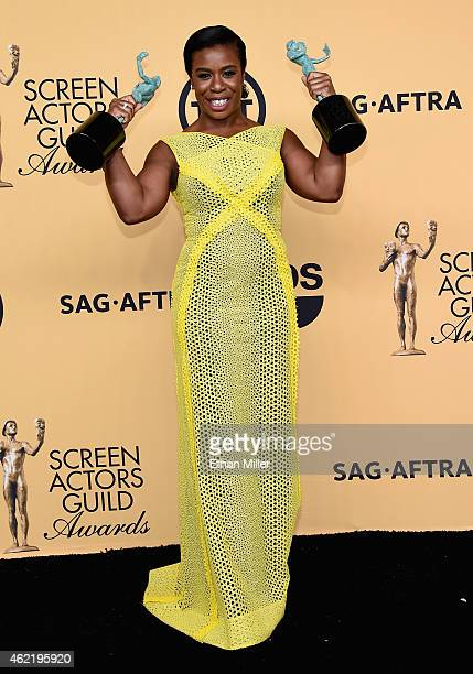 Actress Uzo Aduba winner of Outstanding Performance by a Female Actor in a Comedy Series and Outstanding Performance by an Ensemble in a Comedy...