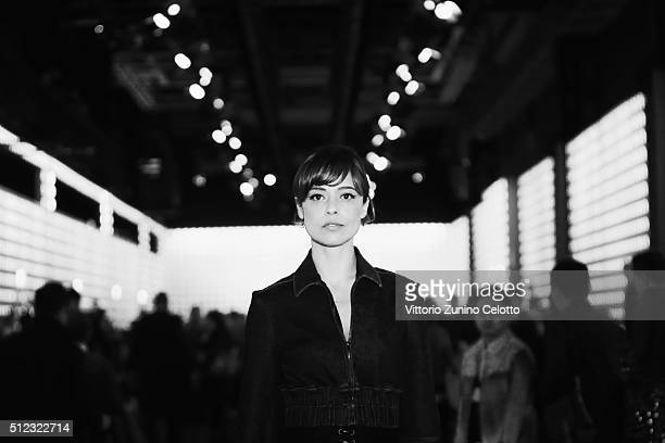d92ed3f7e9ba Actress Valeria Bilello poses at the Fendi show during Milan Fashion Week  Fall Winter 2016