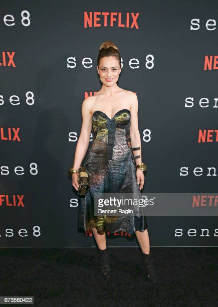 Actress Valeria Bilello poses for a picture on the red carpet during 'Sense8' New York premiere at AMC Lincoln Square Theater on April 26 2017 in New...