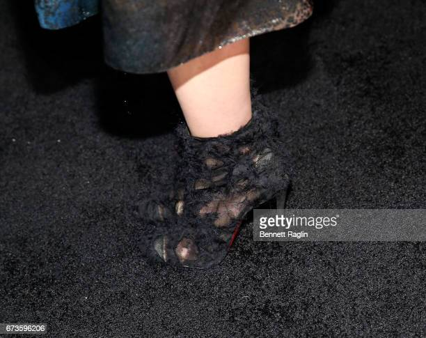 Actress Valeria Bilello shoes Christian Louboutin attends Sense8 New York premiere at AMC Lincoln Square Theater on April 26 2017 in New York City
