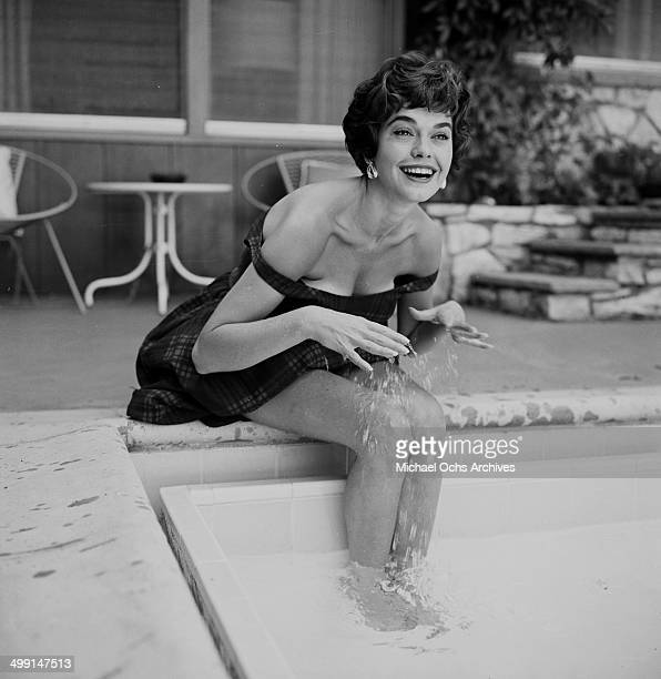 Actress Valerie Allen poses by the pool in Los Angeles California