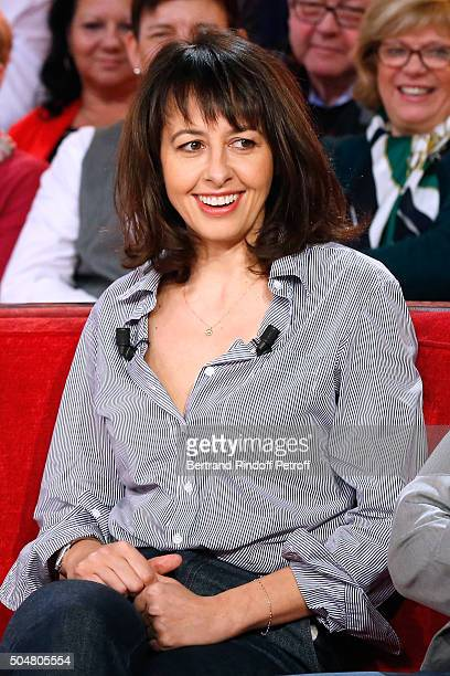 Actress Valerie Bonneton presents the movie 'L'envers du decor' during the 'Vivement Dimanche' French TV Show at Pavillon Gabriel on January 13 2016...