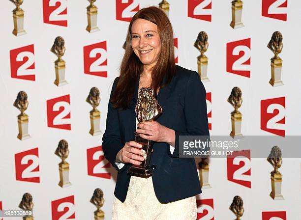 """Actress Valerie Dreville poses with the """"best actress in a public play"""" Moliere Theater Award for """"Les Revenants"""" during the 26th Molieres theatre..."""