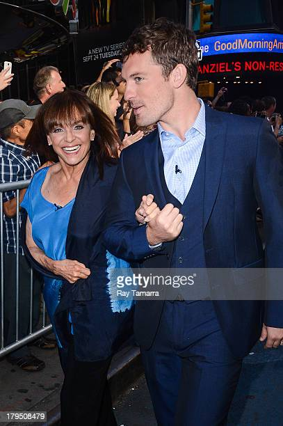 Actress Valerie Harper and dancer Tristan MacManus enter the Good Morning America taping at the ABC Times Square Studios on September 4 2013 in New...