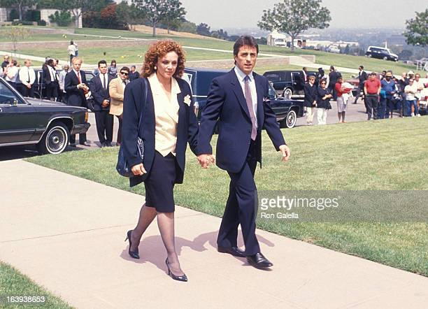 Actress Valerie Harper and husband Tony Cacciotti attend the Sammy Davis Jr's Funeral Service on May 18 1990 at the Forest Lawn Memorial Park in...