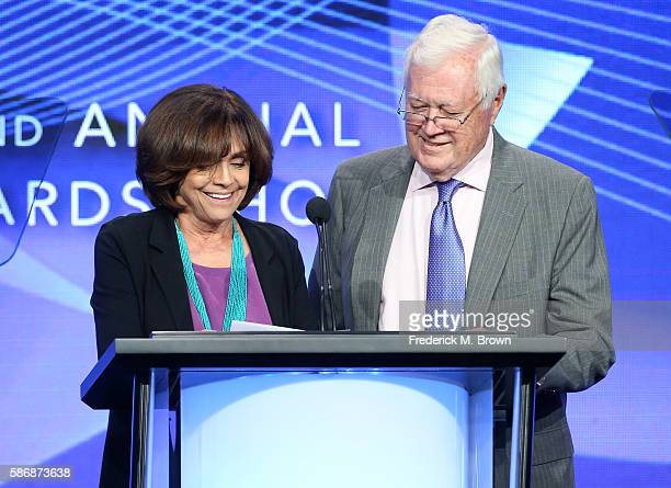 Actress Valerie Harper and writer/producer Allan Burns speak onstage at the 32nd annual Television Critics Association Awards during the 2016...
