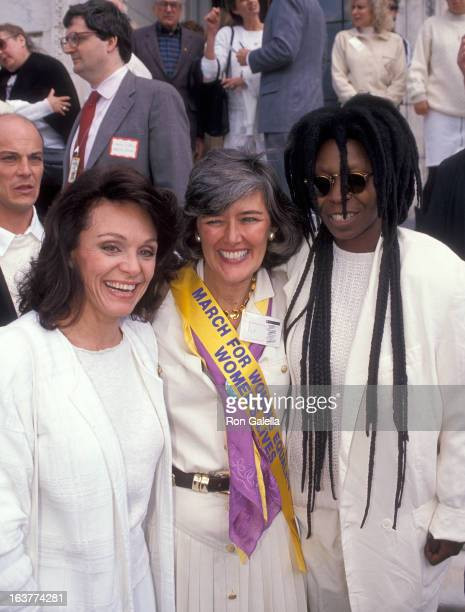 Actress Valerie Harper politician Patricia Schroeder and actress Whoopi Goldberg attend the National Organization for Women's March for Women's...