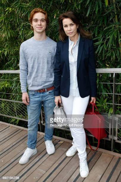 Actress Valerie Kaprisky and her son Lucas Stephanik attend the 2017 French Tennis Open Day Height at Roland Garros on June 4 2017 in Paris France