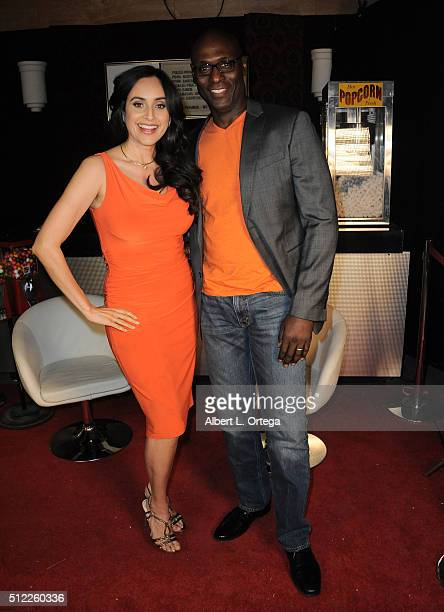 Actress Valerie Perez and Lance Reddick at the Nominations Announcement For The 42nd Annual Saturn Awards held at Geek Nation Studios on February 11...