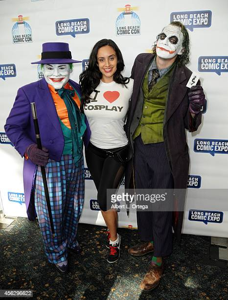 Actress Valerie Perez with Jack Nicholsons' Joker and Heath Ledger's Joker at The Long Beach Comic Con held at the Long Beach Convention Center on...
