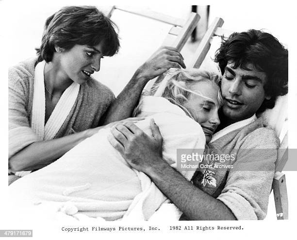 Actress Valerie Quennessen actor Peter Gallagher and actress Daryl Hannah in a scene from the movie Summer Lovers circa 1982