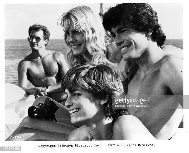 Actress Valerie Quennessen actor Peter Gallagher and actress Daryl Hannah in a scene from the movie 'Summer Lovers' circa 1982