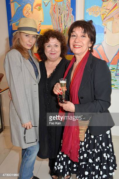 Actress Valerie Steffen PR Josiane Foichat and Cerise Guy attend the Jacques Bral Exhibition Preview at 28 Matignon Gallery on May 11 2015 in Paris...