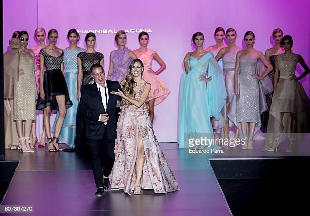 Actress Vanesa Romero and designer Hannibal Laguna showcase designs by Hannibal Laguna on the runway at the Hannibal Laguna show during MercedesBenz...