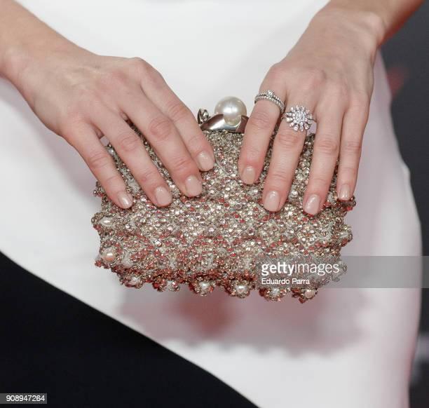 Actress Vanesa Romero handbag detail attends Feroz Awards 2018 at Magarinos Complex on January 22 2018 in Madrid Spain