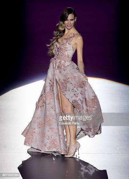 Actress Vanesa Romero showcases designs by Hannibal Laguna on the runway at the Hannibal Laguna show during MercedesBenz Fashion Week Madrid...