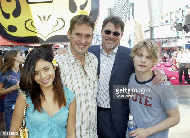 Actress Vanessa Anne Hudgens producer Tim Bevan director Jonathan Frakes and actor Brady Corbett pose at the premiere of Thunderbirds at the...