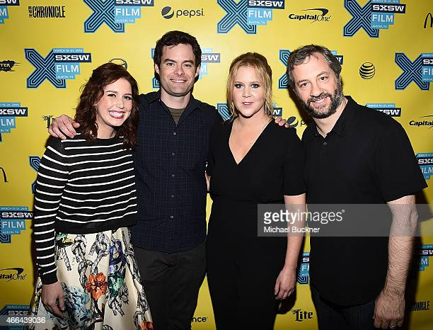 Actress Vanessa Bayer actor Bill Hader actress Amy Schumer and director Judd Apatow arrive at the screening of 'Trainwreck' during the 2015 SXSW...