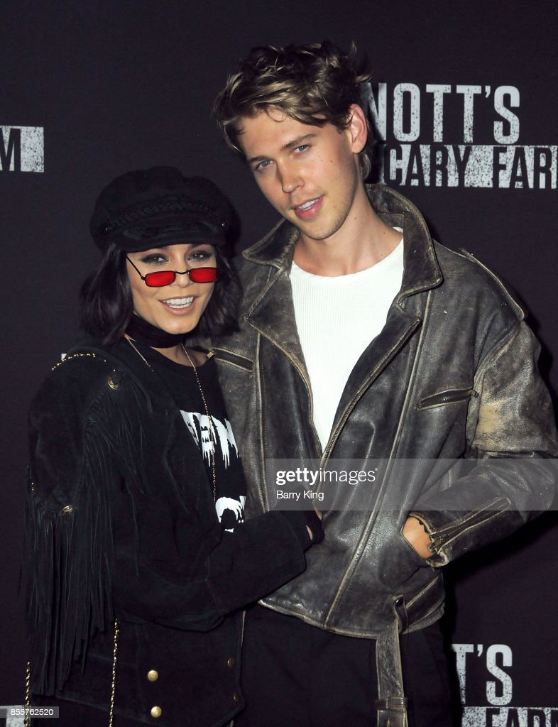 Actress Vanessa Hudgens and actor Austin Butler attend Knott's Scary Farm and Instagram's Celebrity Night at Knott's Berry Farm on September 29, 2017 in Buena Park, California.