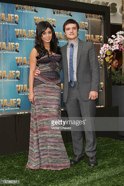 Actress Vanessa Hudgens and actor Josh Hutcherson attend the Journey 2 The Mysterious Island Mexico City red carpet event at Cinemark Reforma 222 on...