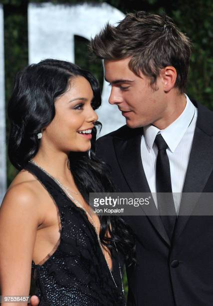 Actress Vanessa Hudgens and Actor Zac Efron arrive at the 2010 Vanity Fair Oscar Party held at Sunset Tower on March 7 2010 in West Hollywood...
