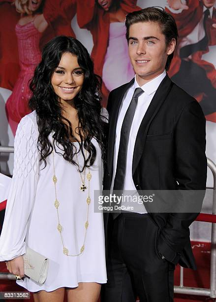 """Actress Vanessa Hudgens and Actor Zac Efron arrive at the Los Angeles Premiere of """"High School Musical 3"""" at the Galen Center at the University Of..."""