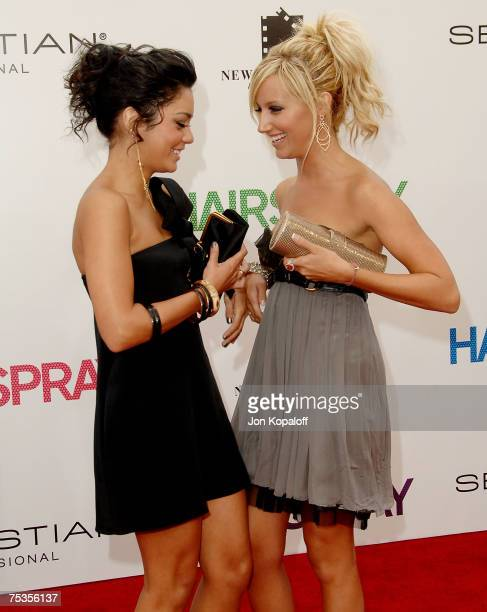 """Actress Vanessa Hudgens and actress Ashley Tisdale arrive to the Los Angeles premiere of New Line Cinema's """"Hairspray"""" held at Mann Village Theatre..."""
