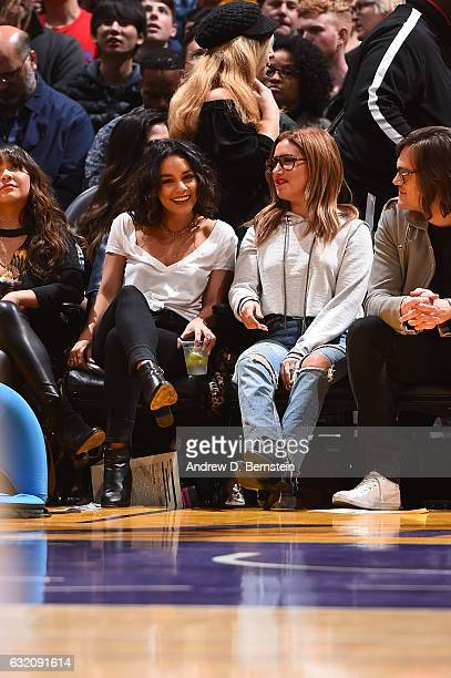 Actress Vanessa Hudgens and Ashley Tisdale attend the Detroit Pistons game against the Los Angeles Lakers on January 15 2017 at STAPLES Center in Los...