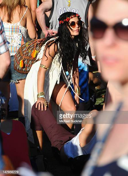 Actress Vanessa Hudgens and Austin Butler attend Day 3 of the 2012 Coachella Valley Music Arts Festival held at the Empire Polo Club on April 15 2012...