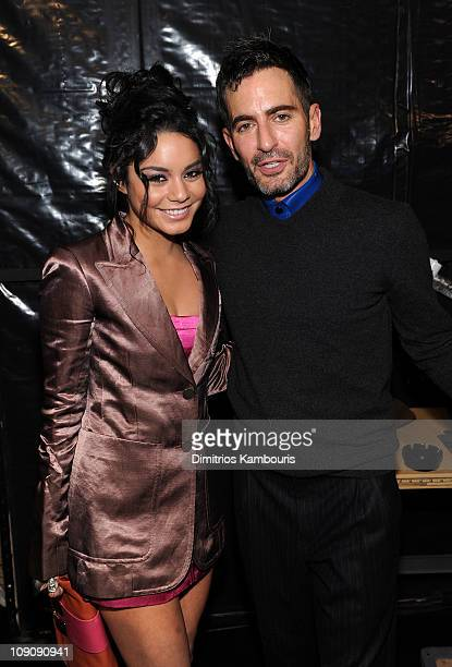 Actress Vanessa Hudgens and designer Marc Jacobs attend the Marc Jacobs Fall 2011 Collection at N.Y. State Armory on February 14, 2011 in New York...