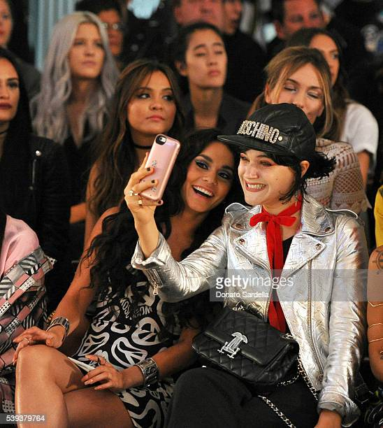 Actress Vanessa Hudgens and recording artist Soko pose for a selfie photo at the Moschino Spring/Summer17 Menswear and Women's Resort Collection...