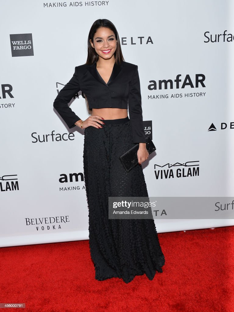 Actress Vanessa Hudgens arrives at amfAR The Foundation for AIDS 4th Annual Inspiration Gala at Milk Studios on December 12, 2013 in Hollywood, California.