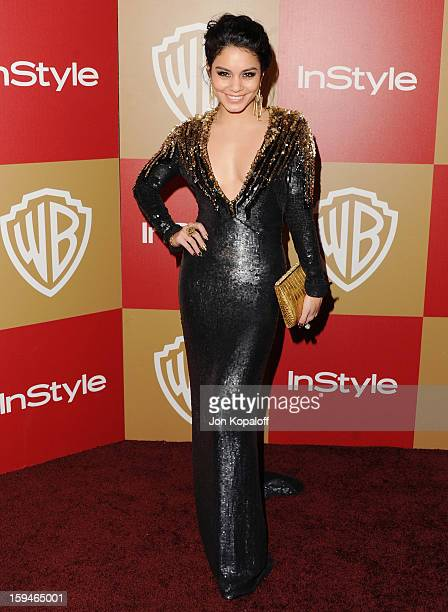 Actress Vanessa Hudgens arrives at the InStyle And Warner Bros Golden Globe Party at The Beverly Hilton Hotel on January 13 2013 in Beverly Hills...