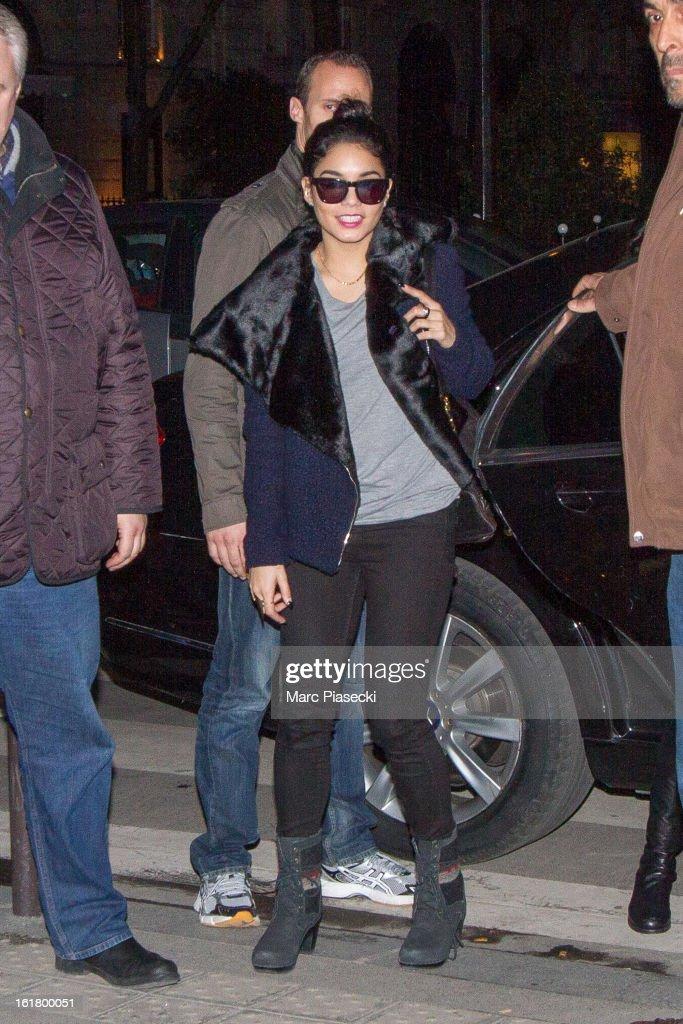Actress Vanessa Hudgens arrives at the 'L'Avenue' restaurant on February 16, 2013 in Paris, France.