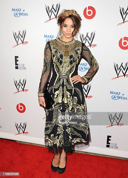 Actress Vanessa Hudgens arrives at WWE and E Entertainment's 'Superstars For Hope' at Beverly Hills Hotel on August 15 2013 in Beverly Hills...