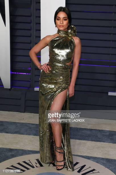 US actress Vanessa Hudgens attends the 2019 Vanity Fair Oscar Party following the 91st Academy Awards at The Wallis Annenberg Center for the...